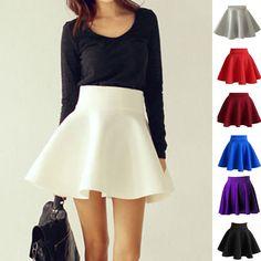 Women Cotton Vintage Stretch High Waist Plain Skater Flared Pleated Skirt Dress #Unbranded #ALine #Casual
