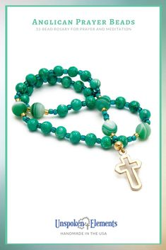 Beautiful green agate Anglican Prayer Beads with gold cross. Handmade in the USA with love by Unspoken Elements. Makes a thoughtful gift for baptism, confirmation, recovery or healing. Healing Prayer, Personal Prayer, Green Agate, Jasper Gemstone, Gold Cross, Prayer Beads, Lent, Confirmation