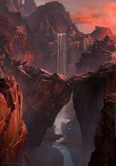 red canyon by heewann kim Sparrow Volume Shane Glines Fantasy Concept Art, Fantasy Artwork, Fantasy Places, Fantasy World, Fantasy Art Landscapes, Landscape Art, Landscape Concept, Fantasy Setting, Fantasy Inspiration