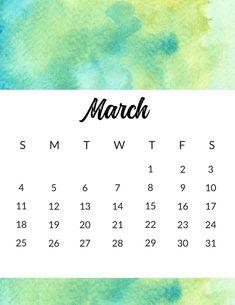 Watercolor Wall March 2018 Calendar