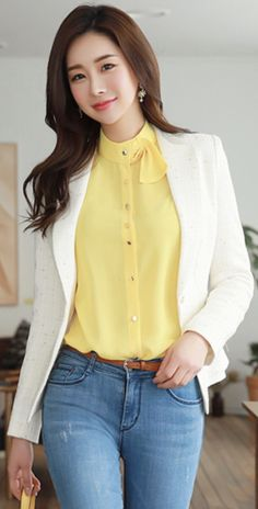 StyleOnme_Single Button Metallic Tailored Tweed Jacket #ivory #classy #jacket #tweed #blazer #koreanfashion #kstyle #kfashion #springtrend #seoul #dailylook