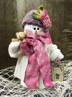 "Handmade 15"" Snowman Doll / Vintage Chenille / Hand Made Snowmen Pink & Purple"