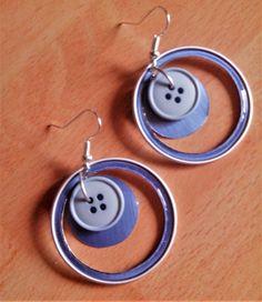 Boucles d'oreilles nespresso bleu + bouton