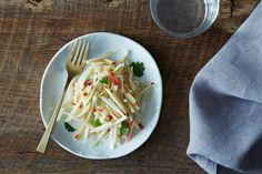 Kohlrabi Salad with apple, rice vinegar, sesame oil, chile, cumin, fish sauce, and cilantro