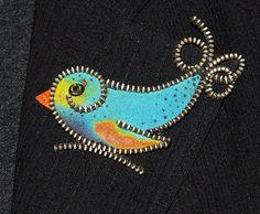 Silk bird designer zipper and felt handmade brooch with a Swarovski rhinestone. on Etsy, $24.14 AUD