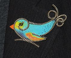 Silk bird designer zipper and felt