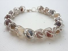 Caged Botswana Agate Beads In Argentium Silver by OldeTowneJewelry, $49.00
