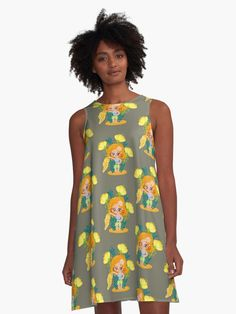 Cute, cartoon style summer dress for you Girls With Flowers, Plus Size Vintage, Cartoon Styles, Summer Girls, Dress For You, Chiffon Tops, Vintage Outfits, Girly, Summer Dresses