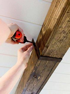 Add instant charm with rustic wood ceiling beams. Rustic beams can help provide the beautiful and elegant look your home needs. Learn how to make wood beams from inexpensive lightweight boards that look just like reclaimed timber. Rustic Decor, Farmhouse Decor, Farmhouse Style, Rustic Style, Rustic Cottage, Rustic Home Decorating, Modern Rustic, Rustic Wood Crafts, Rustic Cafe