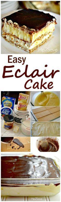 Easy Graham Cracker Eclair Cake Recipe plus 24 more of the most pinned no-bake dessert recipes