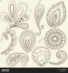 Hand-Drawn Abstract Henna Paisley Vector Illustration Doodle Design Elements Stock Vector & Stock Photos | Bigstock