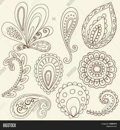 Hand-Drawn Abstract Henna Paisley Vector Illustration Doodle Design Elements Stock Vector & Stock Photos | Bigstock