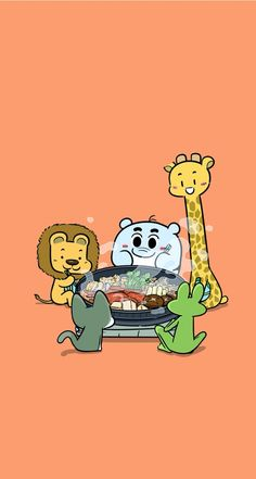 Lets eat together! Tap for more Cute Wildlife Animals Cartoon Wallpapers - @molbile9 #cute #animals #cartoon