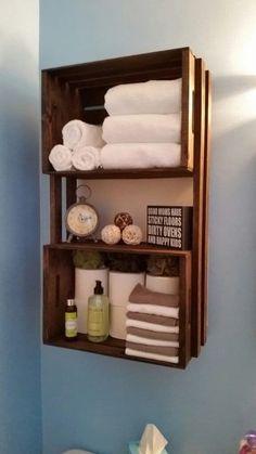bathroom storage, box crates, apple crates, shelving, brackets, diy