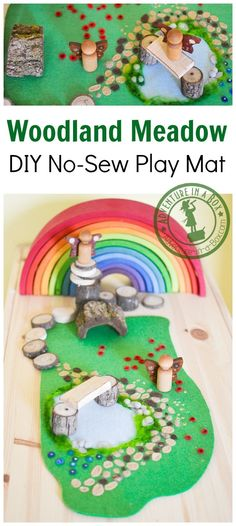 Woodland Meadow DIY No-Sew Felt Play Mat: Use this mat with different natural elements to create an enchanting Waldorf-inspired fairy world in your playroom! Diy Waldorf Toys, Waldorf Crafts, Waldorf Playroom, Diy For Kids, Crafts For Kids, Felt Play Mat, Play Mats, Easy Felt Crafts, Felt Crafts Patterns