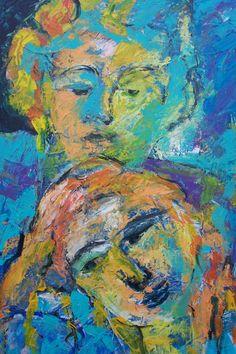 "acryl schildering 80x100, ""Samen"" van Marian Filarski"