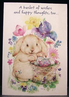 Vintage Easter Bunny Rabbit Iris Basket Eggs Mary Hamilton Hallmark Card - NEW