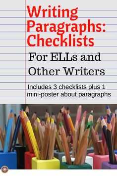 Includes three different checklists that students can use to support their writing of paragraphs. Each checklist includes several criteria that are necessary for writing good paragraphs. Also includes a poster listing features of a paragraph. Available in color and black-and-white styles. Great for writing journals or as a bulletin board display. Not only English Language Learners but all students will benefit from using these writing aids!