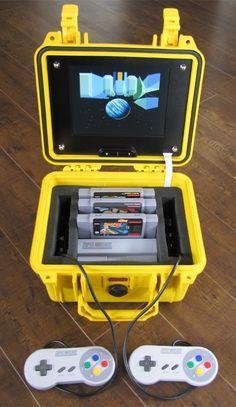 Emergency Portable SNES: Survive the Apocalypse with Super Mario World Playstation, Mini Arcade, Retro Arcade, Custom Consoles, Retro Video Games, Retro Games, Gaming Station, Video Game Rooms, Super Nintendo