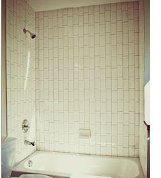 white bathroom tile patterntall tiles