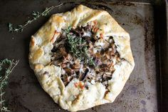 Mushroom Onion Thyme Galette - made with dinner and it was super scrumptious and super easy to make. The dough rolls out extremely thin and doesn't stick (: