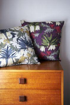 Friti Cushion (Slate) | Abigail Borg | Surface Pattern Designer & Floral Illustrator | Traditional Surface Pattern Design