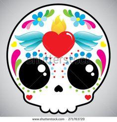 dia de muertos Kawaii Halloween, Halloween 2018, Halloween Crafts, Halloween Party, Sugar Skull Art, Sugar Skulls, Day Of The Dead Art, Kawaii Doodles, Chicano Art