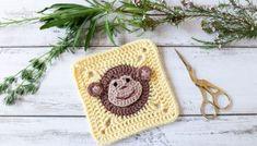 Crochet Coaster Pattern, Crochet Cat Pattern, Crochet Square Patterns, Granny Square Crochet Pattern, Crochet Animal Patterns, Crochet Squares, Crochet Granny, Baby Blanket Crochet, Crochet Baby