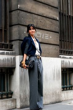 TRANSITIONAL TROUSERS: love this look!  the oversized wide leg here looks boyish and amazing paired with refined lady like pieces!