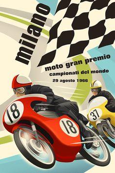Vintage style racing posters.