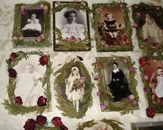 More photo ornaments . . . trimmed with preserved cedar and dried rosebuds. Very Victorian!
