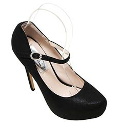 Italina SH1430 Womens almond toe mary jane squeaky high heel bright velvet stilettos Black 7 -- Clicking on the image will lead you to find similar product