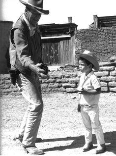 John Wayne & son John Ethan, 1958