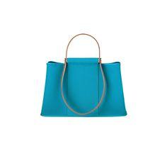 "Hermès Cabag Elan Hermes bag in Izmir blue canvas with natural hunter calfskin handles Measures 15.5"" x 9.5"" x 5.5"". Shoulder strap and handstrap, unlined, interior zip pocket. Silver and palladium plated hardware."