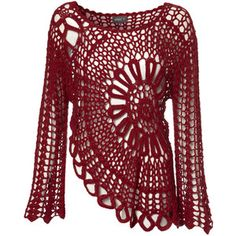 Red Crochet Bell Sleeve Top $33  Pinned as inspiration