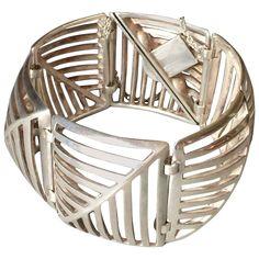 "Georg Jensen by Nanna Ditzel Sterling Silver ""Grates"" Link Bracelet No. 389 | From a unique collection of vintage link bracelets at https://www.1stdibs.com/jewelry/bracelets/link-bracelets/"