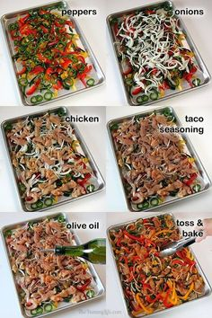 Bake at 425 for 30 minutes Easy, Oven-Baked Sheet Pan Chicken Fajitas. A quick, no-fuss method for making this healthy Mexican food favorite with make-ahead convenience. From The Yummy Life. // Use oil and seasoning, serve with cilantro-lime cauli rice. Oven Chicken, Easy Chicken Fajita Recipe, Easy Chicken Fajitas, Chicken Marinade Recipes, Chicken Meal Prep, Crockpot Chicken Tacos, Chicken Bell Pepper Recipes, Crockpot Freezer Meals, Meals With Chicken