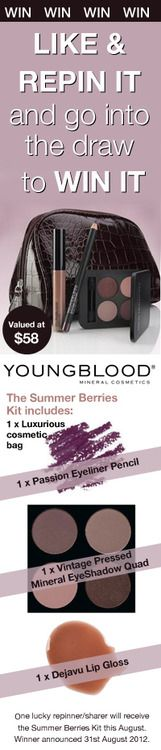 Repin it to win it! Youngblood Summer Berries Make up kit!