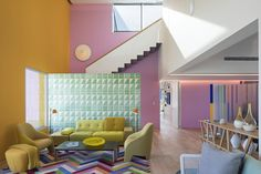 "Pink, purple and yellow walls divide up the Casa TEC 205 residence, which Mexican studio Moneo Brock designed as an ""homage"" to the work of Luis Barragán. Exterior House Colors, Interior And Exterior, Interior Design, Theme Animation, Light Hardwood Floors, Led Wall Sconce, Yellow Walls, Colorful Interiors, Interior Architecture"