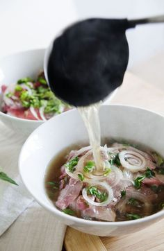 Dads Pho Bo (Vietnamese Beef Noodle Soup) - meat loves salt. Also includes tips and process for bone broth.