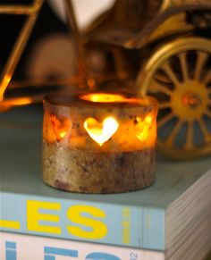 Little Round Soapstone Heart Candle Holder by IntensePursuits, via Etsy