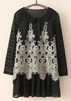 Black Floral Tiered Lace Dress