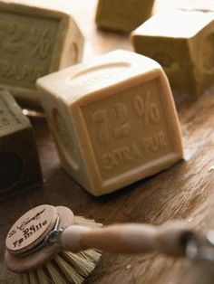 Savon de Marseille - French Soap Cube in Olive Oil or Traditional - via Farmhouse Wares French Soap, Savon Soap, Vintage Laundry, Relaxing Bath, Soap Packaging, Little Boxes, Handmade Soaps, Beautiful Kitchens, Soap Making