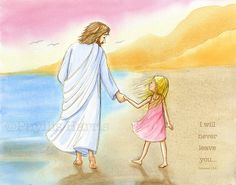Children's Wall Art - Jesus and little girl walking on the beach - Inspirational Wall Art for kids- Text and Girl Hair Color Options