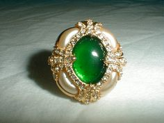 hutton wilkenson  pave crystal ring pearl by qualityvintagejewels, $95.00