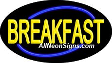 "Breakfast Flashing Neon Sign-ANSAR14161  Dimensions: 17""H x 30""L x 3""D  Custom colors ship in 5-7 business days  110 volt flasher transformer  Cool, Quiet, and Energy Efficient  Hardware & chain are included  Comes standard with 6' power cord  Indoor use only  1 Year Warranty/electrical components  1 Year Warranty/standard transformers."