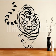 White Tiger Walking - Wall Decal Sticker Graphic