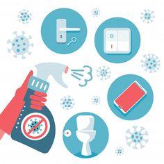 virus protection tips. set of flat items to disinfect - door handle, toilet, telephone, switch. sanitizer in hand. Telephone, Drawing S, Pop Art, Door Handles, Bubbles, Kids Rugs, Graphic Design, Girls Bedroom, Activities