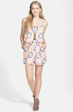 Liberty Love Cage Back Print Chiffon Romper (Juniors) available at #Nordstrom
