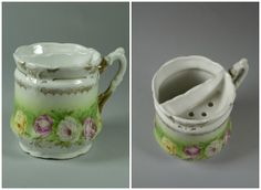 Two views of 967.13.6, Moustache Cup, in the OCM Collection